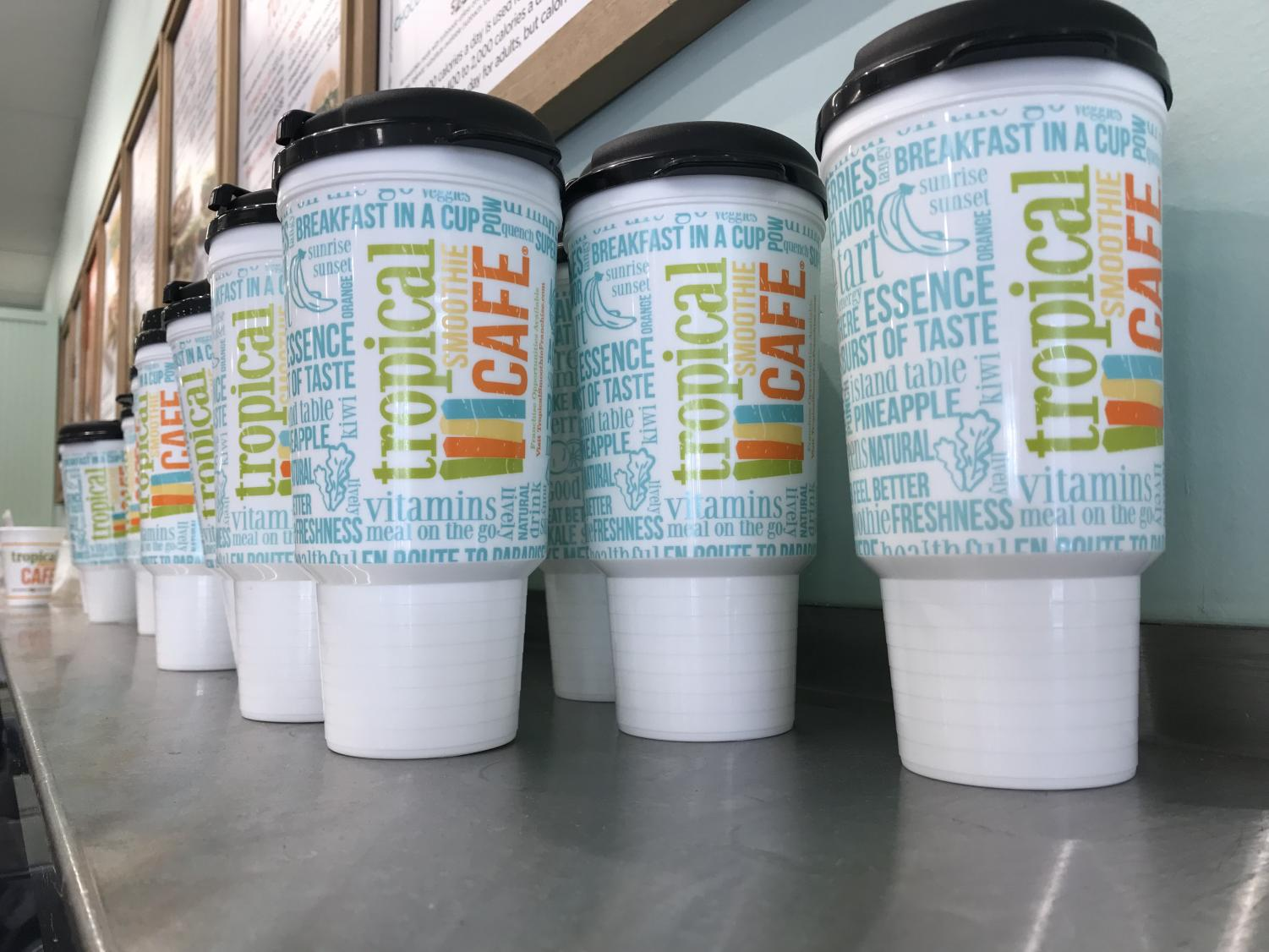 The reusable cups from Tropical Smoothie Cafe. Photo Credit: Grace Crowley