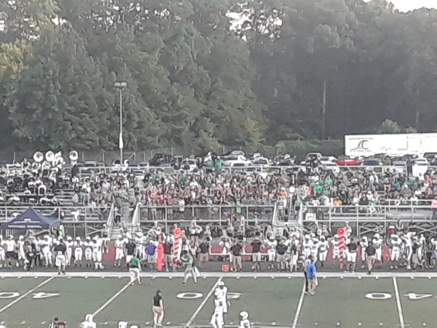 A sold out Roswell student section witnesses the defeat of the Campbell Spartans at the hands of the Roswell Hornets, 35-0. Photo Credit: Rajath Prabhakar