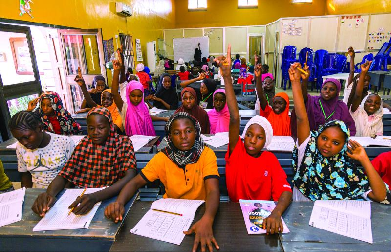 Children affected by Boko Haram's acts, back in the classroom and eager to learn. Photo Credit: www.rotary.org