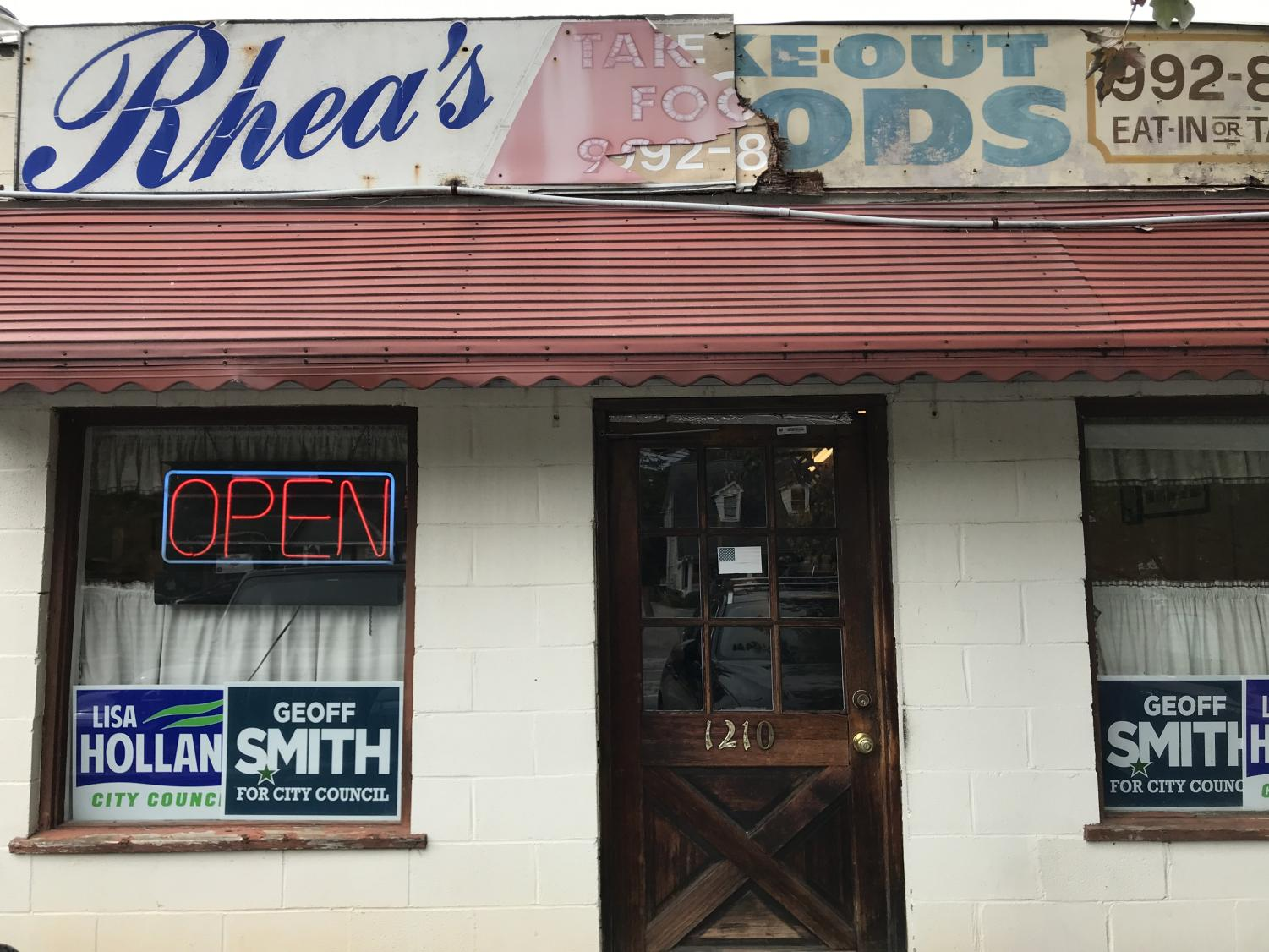 Rhea's Take Out Foods faces Canton Street, right next to the Corner Grocery. Photo Credit: Claire Mulkey