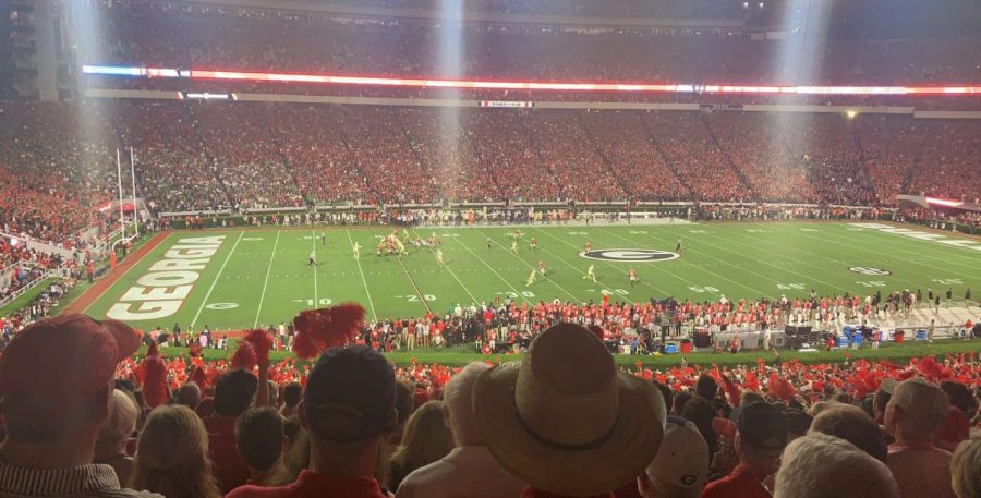 An excited crowd cheers on their hometown Bulldogs at the Sanford Stadium in Athens. Photo Credit: Ansley Tanner