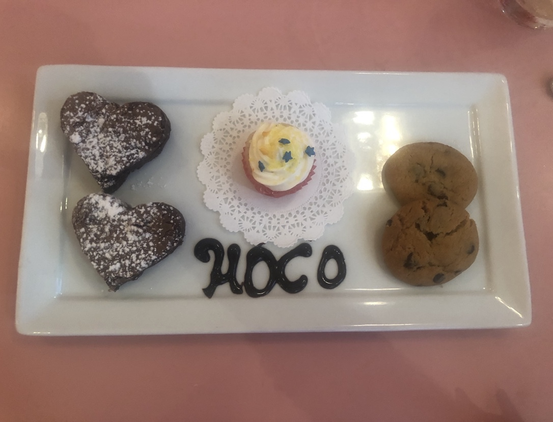 """The """"Delicious Desserts Sampler."""" The waitresses wrote """"hoco"""" on it in honor of homecoming. Credit:  Macey MacArthur"""