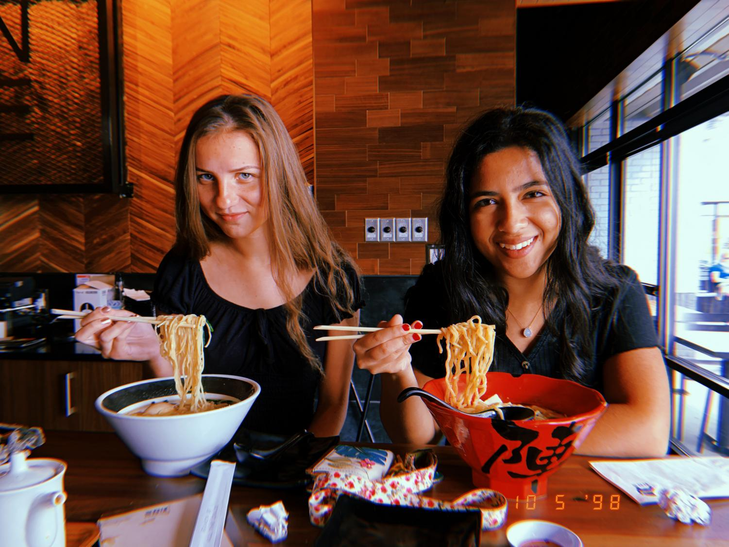 My friend Emma and I pose with our go-to ramens at Jinya. Photo Credit: Smriti Tayal
