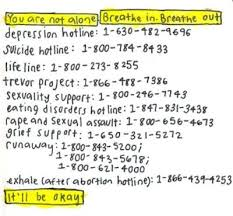 Listed above are a variety of helplines to provide care and emergency services for kids, teens, and adults nationwide. Credit: Jakai Spikes