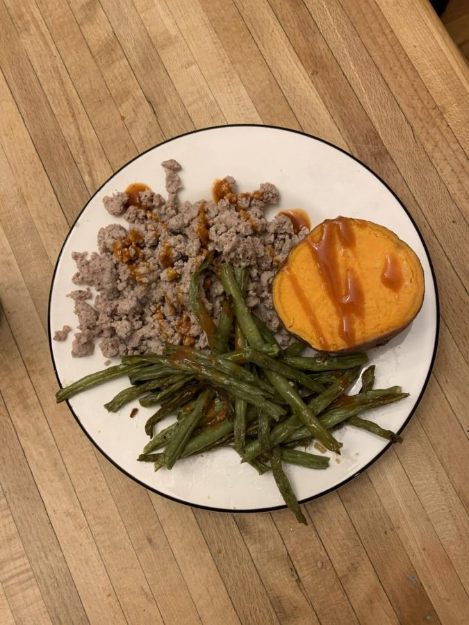 A great dinner idea is sweet potato, ground beef, green beans and hot sauce to spice it up. Photo Credit: Gabby Lerner