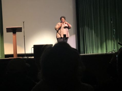 Stacey Abrams answered student questions from those who attended and told stories of her time in high school while living in Georgia. Photo Credit: Ava Weinreb