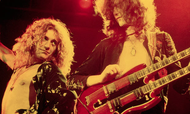 "Jimmy Page and Robert Plant, the composers of ""Stairway to Heaven"" rock out on stage in 1975. Photo Credit: Neal Preston/Corbis"