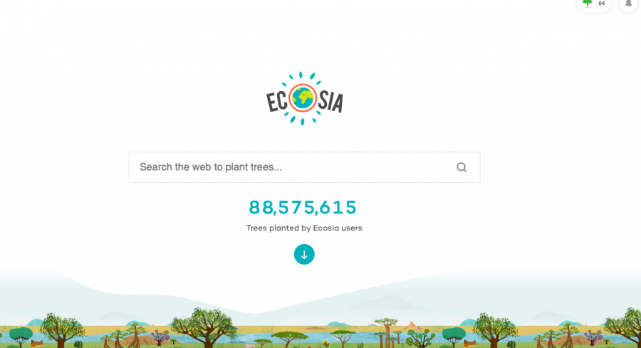 With Ecosia, on average you plant a tree every 45 searches. Photo Credit: Screenshot from Emma Guglielmo