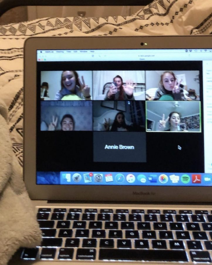 Gathering on zoom calls is easy, just download the app and chat for hours. Photo credit: Ava Weinreb