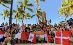 Exchange students from all around the world having a great time in Hawaii and learning about the Polynesian culture. Photo Credit: Belo USA