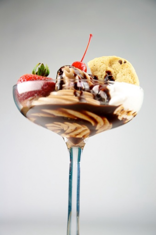 A chocolate sundae which can be ordered at Vintage Frozen Custard.
