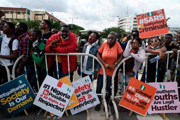 Temilade Adelaja/Reuters Caption: Protest in Capital Lagos, a epicenter of youths that has held the largest protests in the nation over the past month. Credit: Temilade Adelaja/Reuters