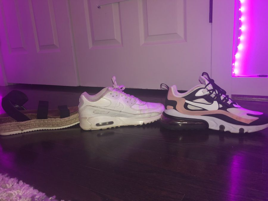 From left to right; Steve Madden Kimmie Sandals, Nike Air Max 90's, Nike Air Max 270 React's.