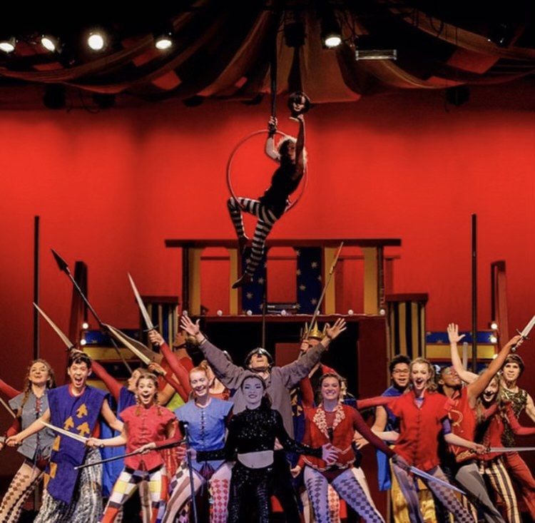 "2020 participants of the production ""Pippin!"" Jessi Kirtley (graduated) front and center of this image. Photo credit: Emma Martin"