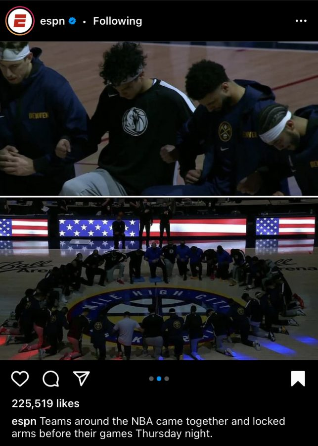Players throughout the NBA kneeled during the national anthem in protest of racial injustices. Photo Credit: https://www.instagram.com/p/CJxRUR8Dck7/?igshid=1x4f60e7vioai