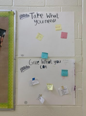 A sign up in the D hallway by yearbook staff to spread positivity through sharing notes, since COVID happened looks more bare and empty. A good reflection of struggling to find connection when forced to be separate. Photo by Jordan Freeman