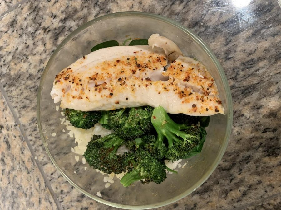 Crispy flakey fish with broccoli and rice is a perfect and easy meal option.  photo cred: Gabby Lerner