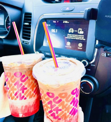 """Rachel and Gracie were eager to try the new Pink Velvet Macchiato"" (photo taken by Gracie Ross)."