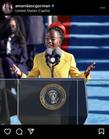 Amanda Gorman while reciting her poem at the presidential inauguration. Photo Credit: Instagram: @amandascgorman