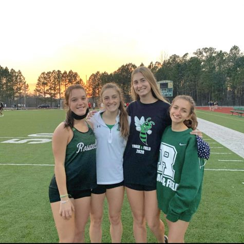 Bailey Oetinger (2nd from left) secured first place for Roswell in the Girls 100 meter dash at the Blessed Trinity Meet. Photo Credit: Bailey Oetinger