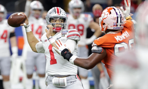 Ohio State Quarterback Justin Fields moments before injury level hit Photo Cred: Buckeyeswire