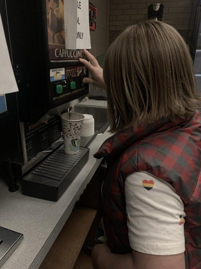 9th grader, Addi Cederburg is whipping up some hot chocolate.  photo: Natalie Navarra