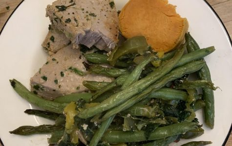 The meal included ahi tuna, green beans, and sweet potato. Photo Credit: Gabby Lerner