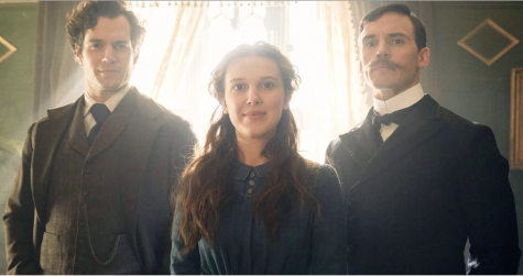 The cast of Enola Holmes (Henry Cavill, Milly Bobby Brown, Sam Clafflin).
