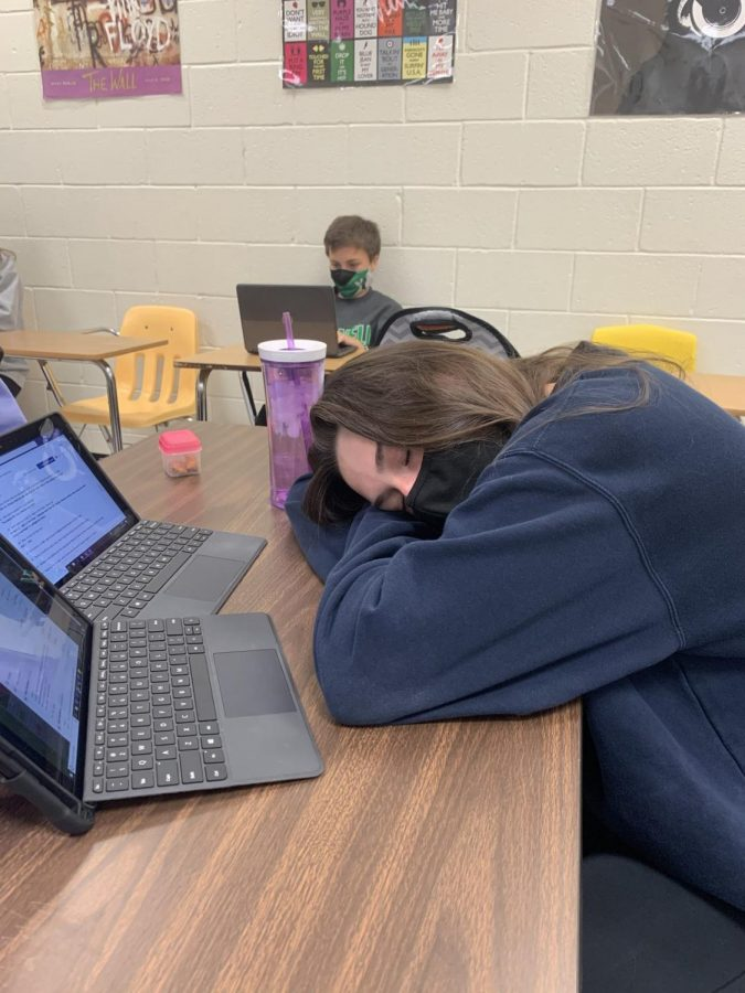Roswell student Katie Northenor takes a power nap during study hall. Picture by Ansley Tanner.