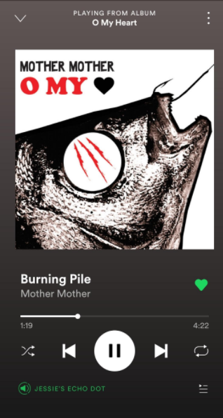 "This is a screenshot of the song ""Burning pile"" by Mother Mother on Spotify. (Credit: Jessie Schwitters)"
