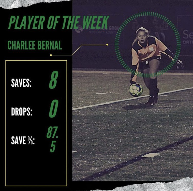 Roswell High School Varsity Girls soccer goalie Charlee Bernal gets awarded with player of the week. Photo Credit: @roswellsoccer