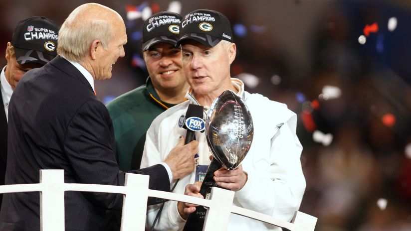 Ted Thompson holding the Super Bowl XLV trophy after packers win 31-25 Photo by packers.com