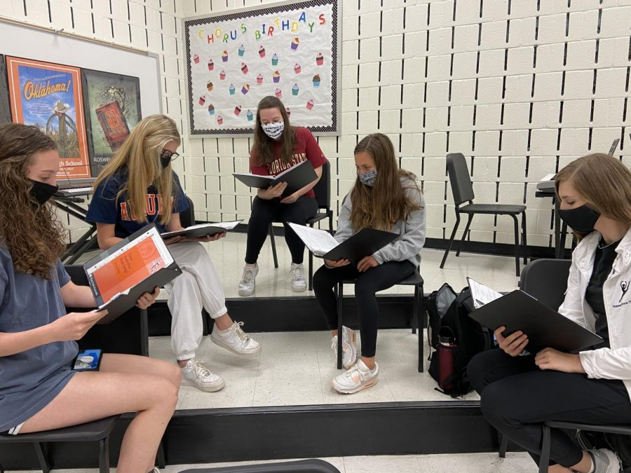 The soprano twos practice sectionals. Photo: Claire Mulkey