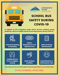 Here are some basic things to remember when on a bus to stay COVID-19 safe. Photo by livingstone range school division.