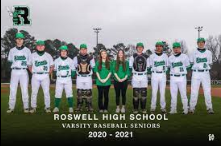 8 seniors leave their legacy on hornet baseball, finishing their high school careers in 2021. Photo Credit: Roswell Baseball Twitter