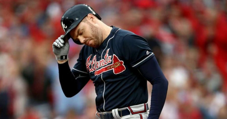 Braves first baseman Freddie Freeman after striking out. Photo Credit: popculture