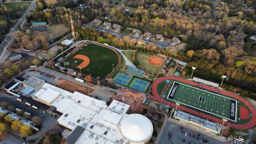 The DJI Mini 2 is a great way to pass down time and go on your own little adventure. Here is a photo i was able to get with the Mini 2 of all the sports fields at Roswell. (Credit: Alex Johnson)