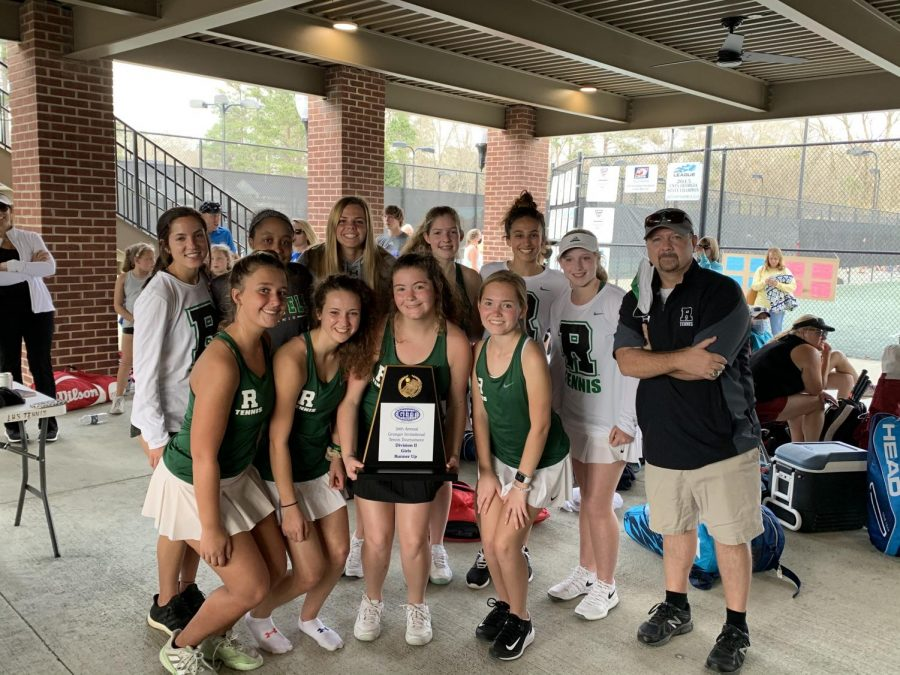 The girls' varsity tennis team has developed a tight bond during this unusual season! Photo Credit: Mary Ellen Martin