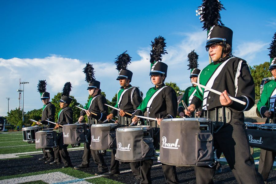 Roswells marching band drum line practices for halftime show Photo Credits: Gautam Vedula
