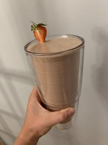 Once blended up, pour your shake into your favorite cup and enjoy. (Credit: Gabby Lerner)